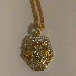 gold mask diamond necklace